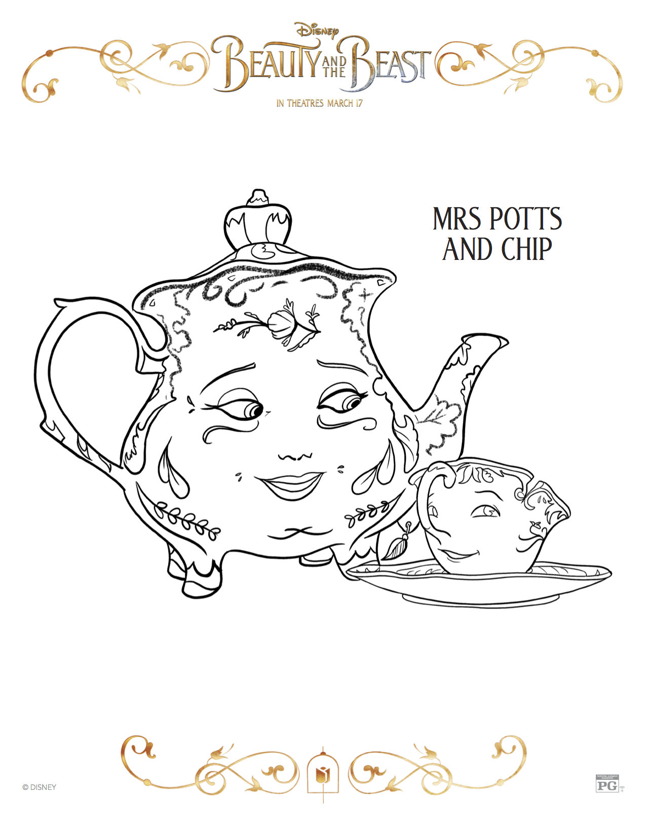 3 New Beauty and the Beast Printable Coloring Sheets Theresas