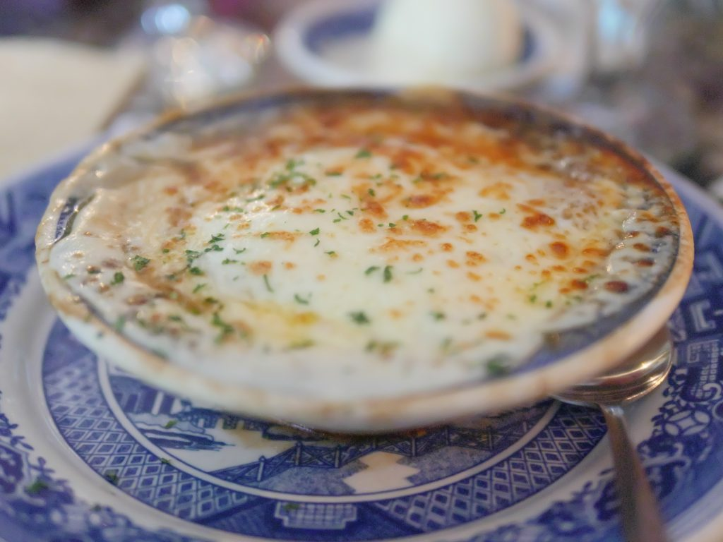 One delicious part of the meal at Dobbin House Tavern was the French Onion Soup.