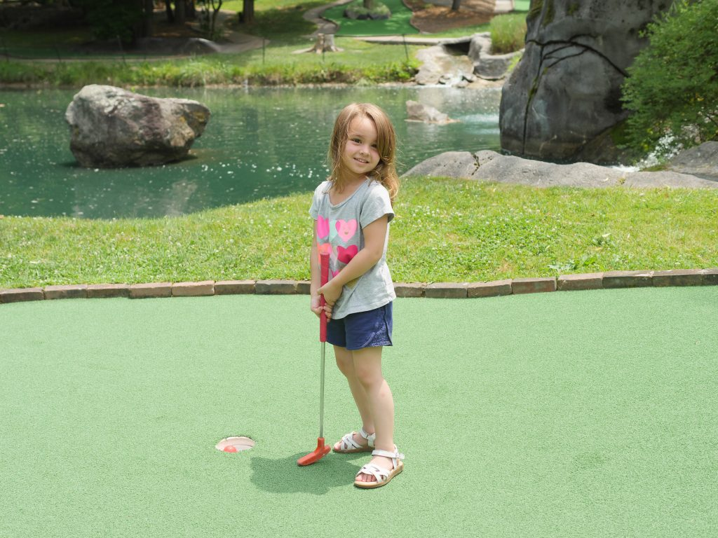 Children of all ages enjoy the lush scenery at Mulligan MacDuffer Adventure Golf.