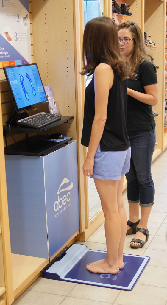 The Walking Company ABEO Biomechanical Footwear Digital Technology helps you determine the height of your arch to help you find the best shoes.