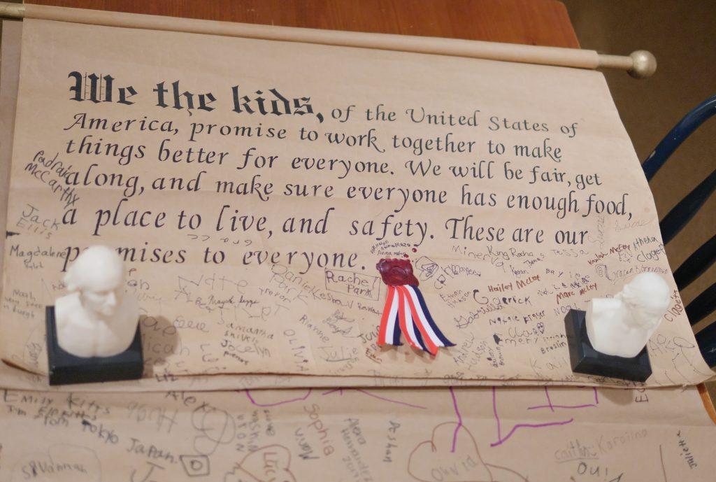 At the Museum and Education Center, you can visit the Children's Section where children can sign the Declaration of Independence.