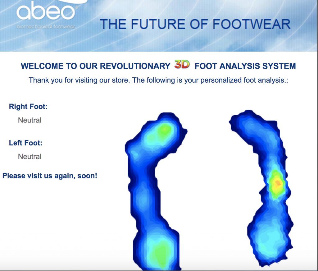 The Walking Company ABEO Biomechanical Footwear Digital Technology has a 3D foot analysis system.