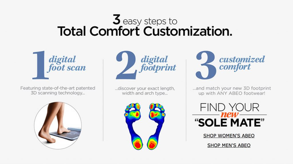 The Walking Company ABEO Biomechanical Footwear Digital Technology uses three steps to find your right pair of shoes.
