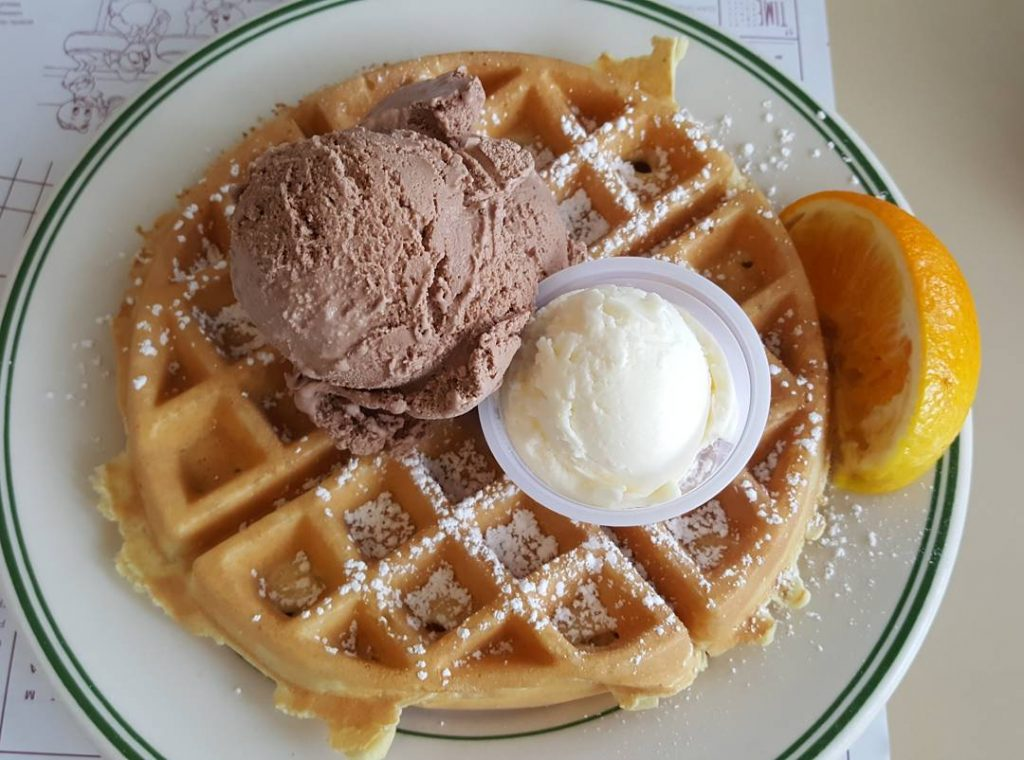 Belgian waffle with chocolate ice cream and powdered sugar Yum!hellip