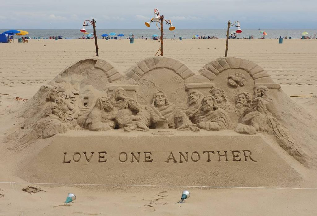 On the Ocean City boardwalk a sand sculpture reminds ushellip