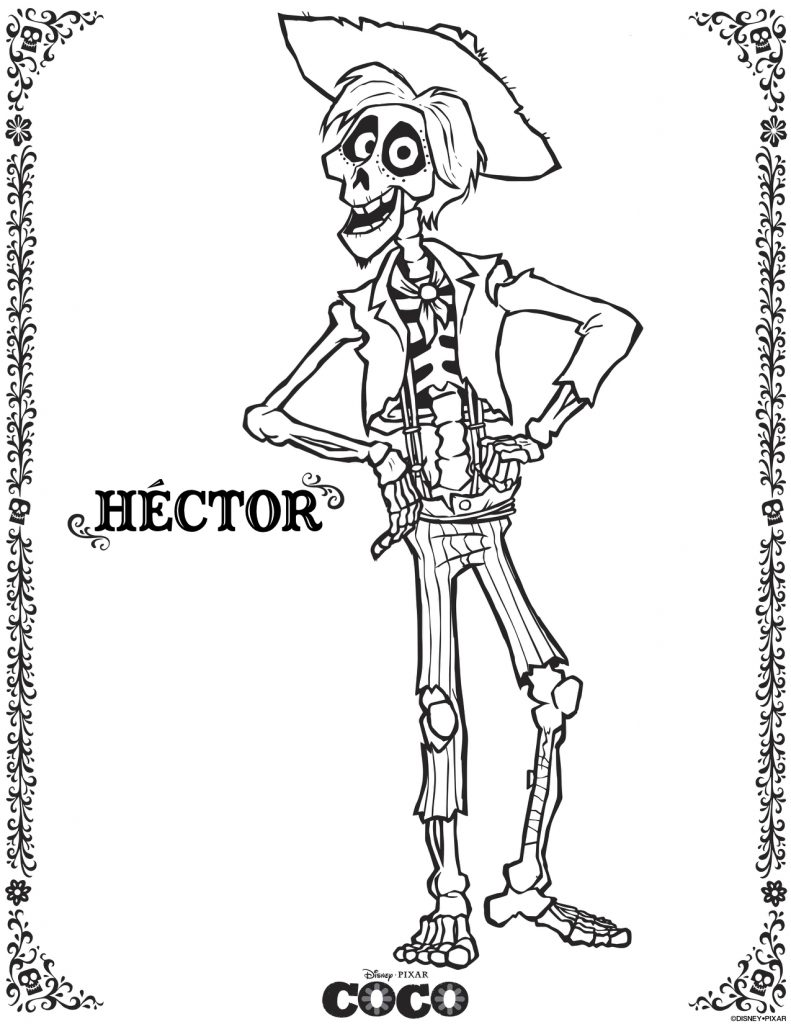 COCO activity sheets - Hector coloring sheet - Theresa's Reviews