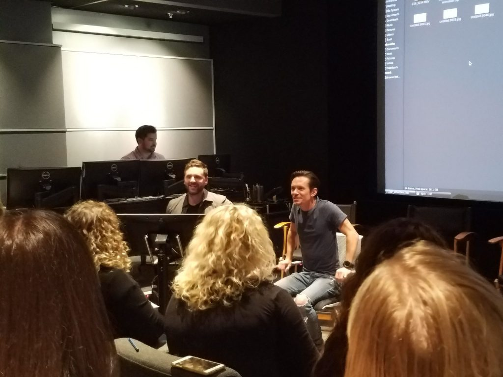 Animator Michael Franceschi and animation supervisor Chad Sellers gave an Olaf drawing tutorial.