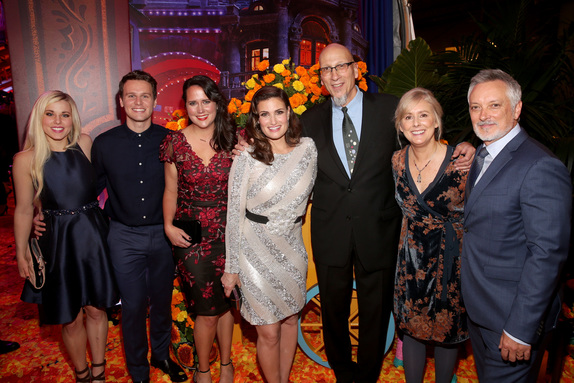 ":HOLLYWOOD, CA - NOVEMBER 08: (L-R) Songwriter Elyssa Samsel, Actor Jonathan Groff, Songwriter Kate Anderson, Actor Idina Menzel, Producer Roy Conli, and Directors Stevie Wermers-Skelton and Kevin Deters of ""Olaf's Frozen Adventure"" at the U.S. Premiere of Disney-Pixar's ""Coco"" at the El Capitan Theatre on November 8, 2017, in Hollywood, California. ""Olaf's Frozen Adventure"" featurette opens in front of Disney-Pixar's original feature ""Coco"" for a limited time. (Photo by Jesse Grant/Getty Images for Disney)"