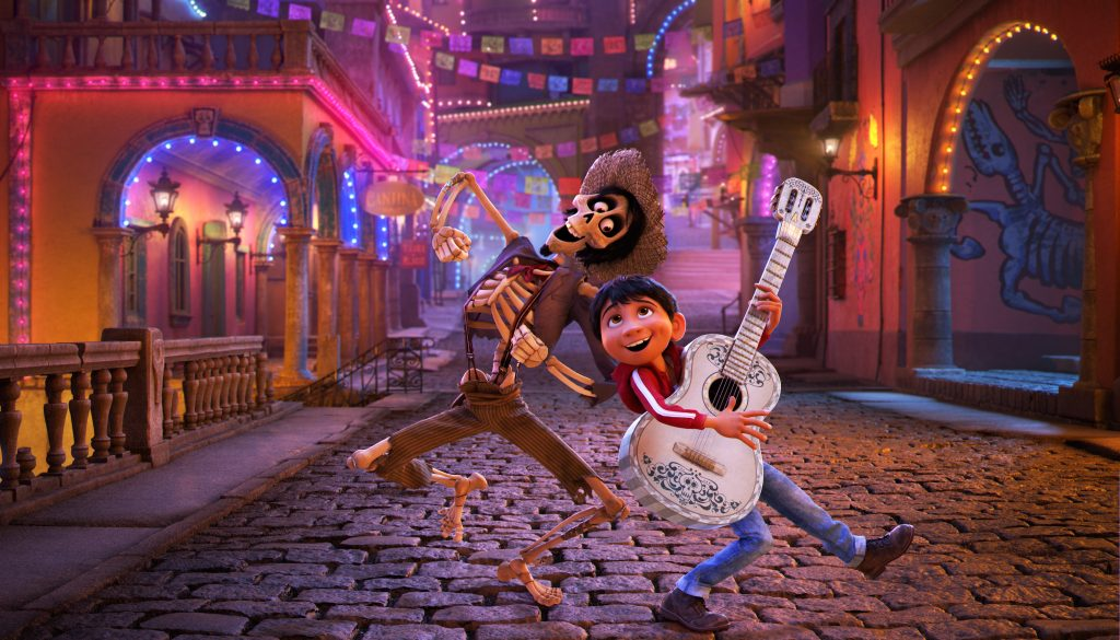 """NAME THAT TUNE – In Disney•Pixar's """"Coco,"""" Miguel's love of music ultimately leads him to the Land of the Dead where he teams up with charming trickster Hector. """"Coco"""" features an original score from Oscar®-winning composer Michael Giacchino, the original song """"Remember Me"""" by Kristen Anderson-Lopez and Robert Lopez, and additional songs co-written by Germaine Franco and co-director/screenwriter Adrian Molina. Also part of the team is musical consultant Camilo Lara of the music project Mexican Institute of Sound. In theaters on Nov. 22, 2017. © 2017 Disney•Pixar. All Rights Reserved."""