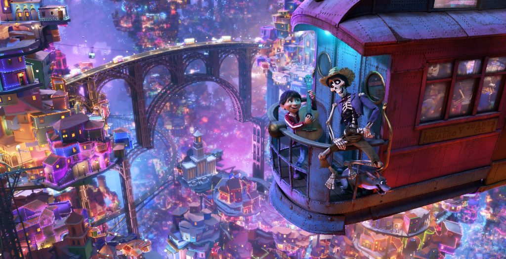 "UNLIKELY DUET -- In Disney•Pixar's ""Coco,"" aspiring musician Miguel (voice of Anthony Gonzalez) teams up with charming trickster Hector (voice of Gael García Bernal) on a life-changing journey through the Land of the Dead. Directed by Lee Unkrich, co-directed by Adrian Molina and produced by Darla K. Anderson, Disney•Pixar's ""Coco"" opens in U.S. theaters on Nov. 22, 2017. ©2017 Disney•Pixar. All Rights Reserved."