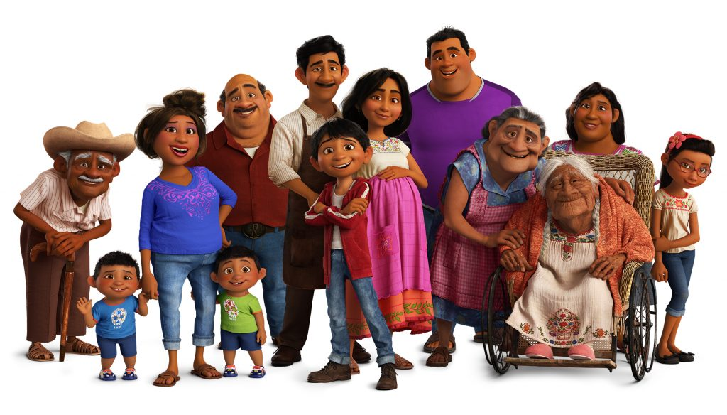 "LIVELY BUNCH – In Disney•Pixar's ""Coco,"" several members of the Rivera family reside in Santa Cecilia in the Land of the Living, including (from L-R): Miguel's grandfather Papá Franco (voice of Roberto Donati), cousin Benny, Tía Gloria (voice of Carla Medina), cousin Manny, Tío Berto (voice of Luiz Valdez), his Papá Enrique (voice of Jaime Camil), Miguel (voice of Anthony Gonzalez), Miguel's Mamá Luisa (voice of Sofía Espinosa), cousin Abel (voice of Polo Rojas), grandmother Mamá Elena aka Abuelita (voice of Renée Victor), his great-grandmother Mamá Coco (voice of Ana Ofelia Murguía), Tía Carmen and cousin Rosa (voice of Montse Hernandez). Directed by Lee Unkrich, co-directed by Adrian Molina and produced by Darla K. Anderson, Disney•Pixar's ""Coco"" opens in U.S. theaters on Nov. 22, 2017. ©2017 Disney•Pixar. All Rights Reserved."