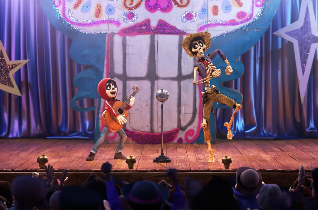 """COCO (Pictured) - UN POCO LOCO – In Disney•Pixar's """"Coco,"""" aspiring musician Miguel (voice of Anthony Gonzalez) teams up with a charming trickster named Héctor (voice of Gael García Bernal) to unravel a generations-old family mystery. Their extraordinary journey through the Land of the Dead includes an unexpected talent show performance of """"Un Poco Loco,"""" an original song in the son jarocho style of Mexican music written by co-director Adrian Molina and Germaine Franco for the film. """"Coco"""" opens in U.S. theaters on Nov. 22, 2017. ©2017 Disney•Pixar. All Rights Reserved."""