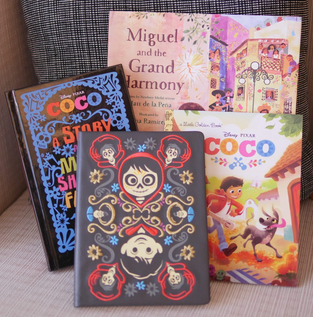 CocoJournal, Coco: A Story about Music, Shoes, and Family Book, Coco: Miguel and the Grand Harmony Book, and COCO Little Golden Book - Theresa's Reviews - 10 Must-Have Disney Pixar Coco Toys#PixarCocoEvent