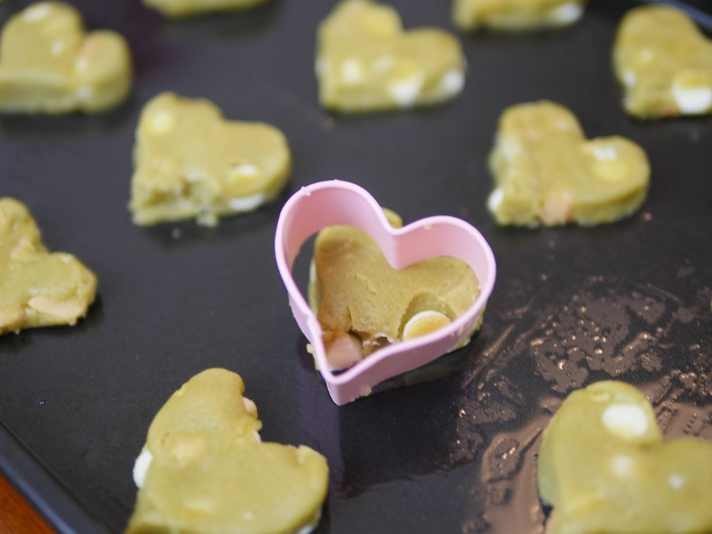 Theresa's Reviews - St. Patrick's Day Matcha Cookies - One idea is to make 4 matcha cookies that, when they're put together, make a 4 leaf clover. It's a great way to use the heart-shaped cookie cutters that you saved from Valentine's Day!
