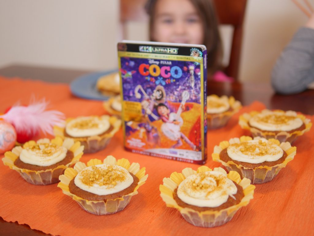 Make Marigold-inspired cupcakes for your Coco movie party! Theresa's Reviews #CocoBluRay
