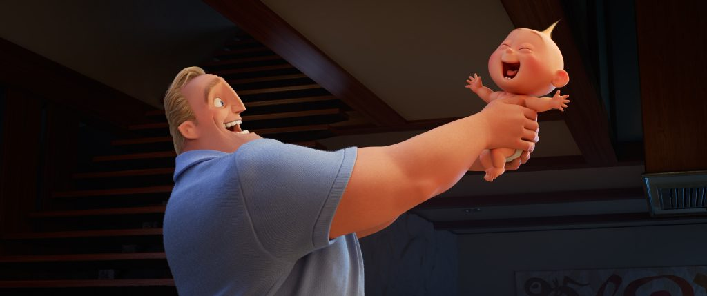 """Incredibles 2 (Pictured) - RISING SON – In Disney•Pixar's """"Incredibles 2,"""" Bob (voice of Craig T. Nelson) is left to navigate the day-to-day heroics of """"normal"""" life, giving him an opportunity to bond with his younger son, Jack-Jack, whose superpowers are emerging—much to Dad's surprise. Directed by Brad Bird and produced by John Walker and Nicole Grindle, """"Incredibles 2"""" busts into theaters on June 15, 2018. ©2018 Disney•Pixar. All Rights Reserved."""