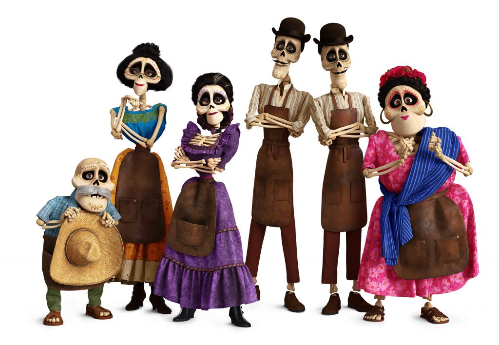"""FUNNY BONES – In Disney•Pixar's """"Coco,"""" several members of the Rivera family call the Land of the Dead home, including (from L-R): Miguel's great-grandfather Papá Julio (voice of Alfonso Arau), Tía Victoria, family matriarch and Miguel's great-great-grandmother Mamá Imelda (voice of Alanna Ubach), identical twin uncles Tío Oscar and Tío Felipe (both voice of Herbert Siguenza) and Tía Rosita (voice of Selene Luna).Directed by Lee Unkrich, co-directed by Adrian Molina and produced by Darla K. Anderson, Disney•Pixar's """"Coco"""" opens in U.S. theaters on Nov. 22, 2017. ©2017 Disney•Pixar. All Rights Reserved."""