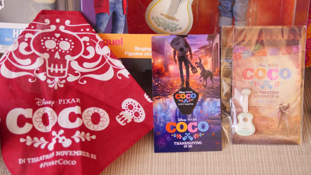 Limited edition collectable guitar pick, a guitar pin, and a bandana - Theresa's Reviews - 10 Must-Have Disney Pixar Coco Toys#PixarCocoEvent