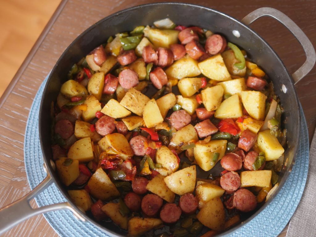 ielbasa with Potatoes and Peppers One-Pan Skillet Meal - Theresa's Reviews
