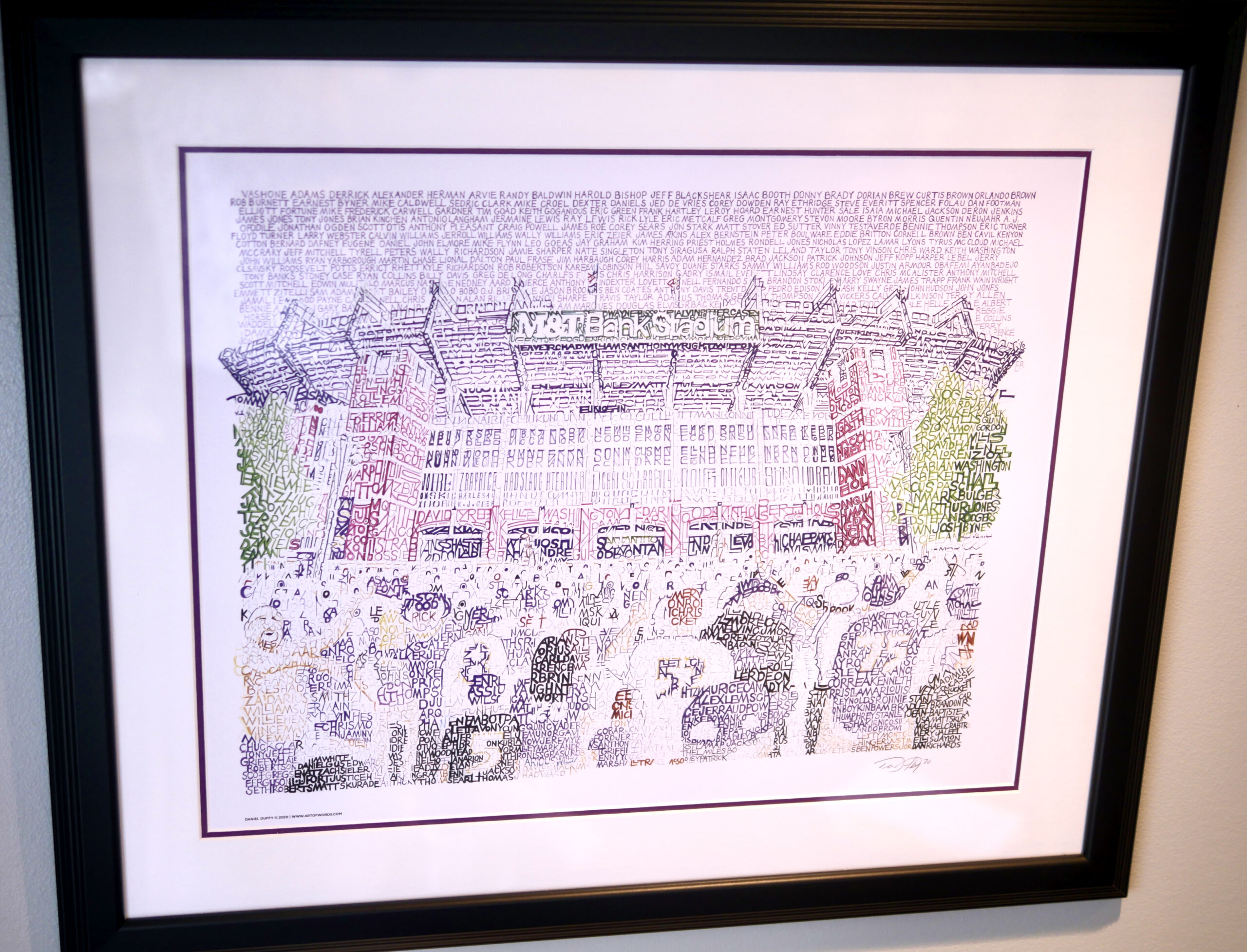 Art of Words M&T Bank Stadium handwritten with every Raven in history
