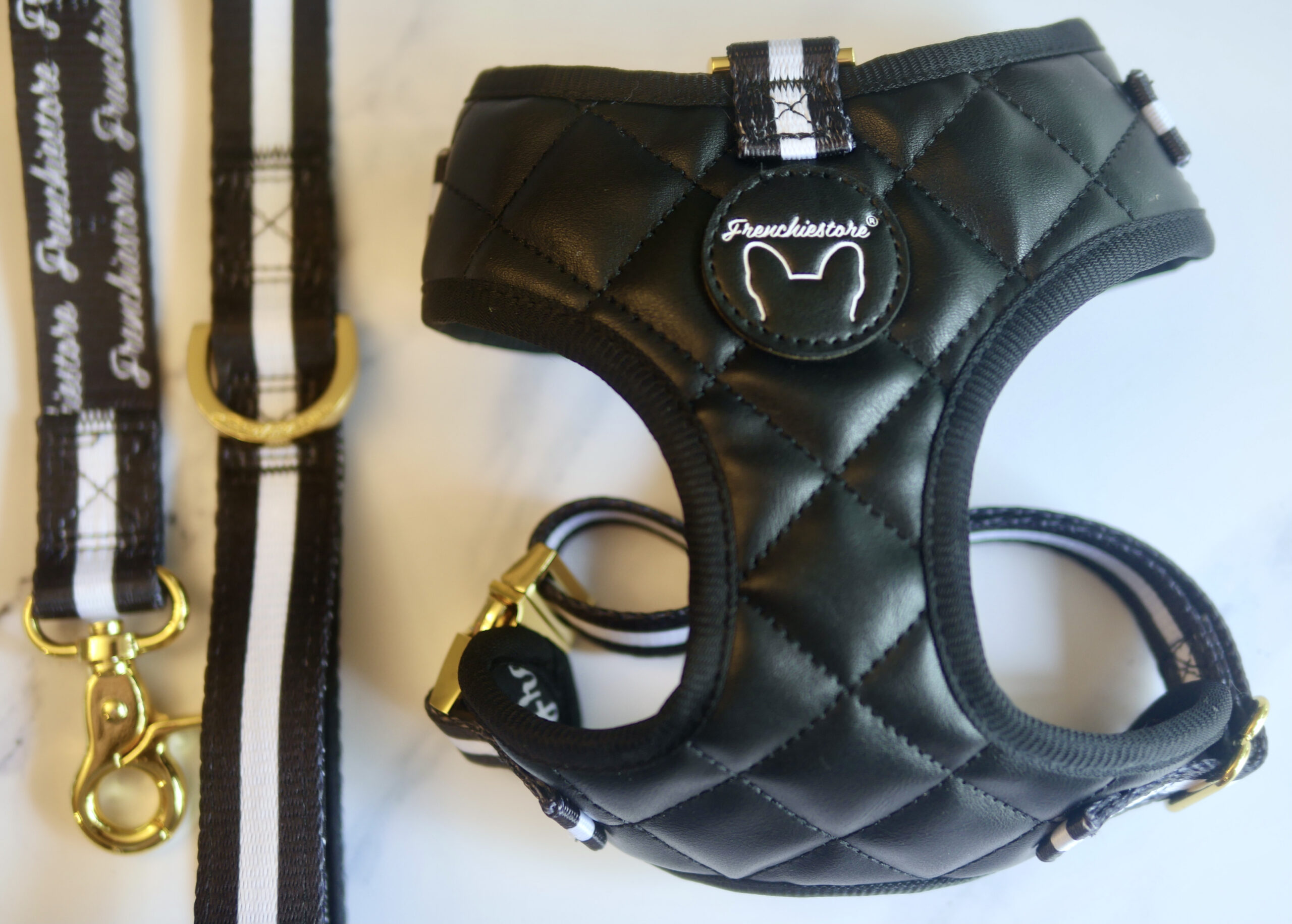 Frenchie Store black, vegan leather harness and black and white luxury leash