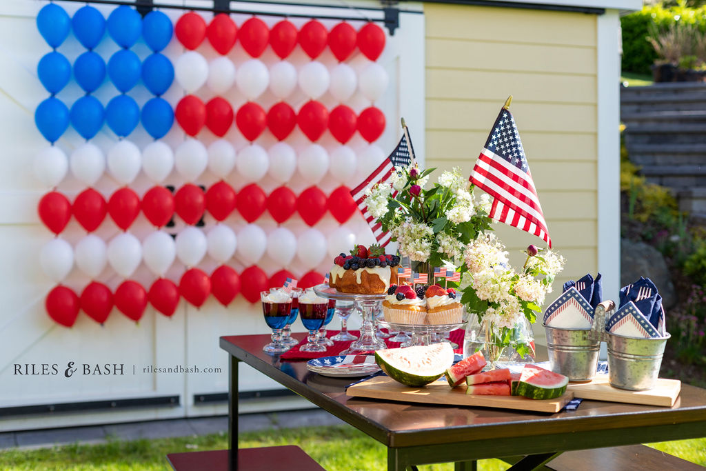 Red, White, and Blue Balloon Garland Flag